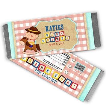 Country Western Baby Shower Candy Bar Wrapper Party Favors - Boys Cowboy Shower Ideas - Its a Boy Baby Shower Favors - Candy Buffet Custom