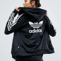 adidas Originals Slim Full Zip Hoodie In Black