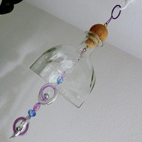Large clear Glass bell, recycled Patron bottle, Yard Art, patio decor, suncatcher, wind chime, Purple beads