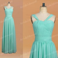 Simple 2014 Mint Strapless Spaghetti Straps Long Ruffled Bridesmaid Dress,Chiffon Evening Party Prom Dress New Arrival Homecoming Dress