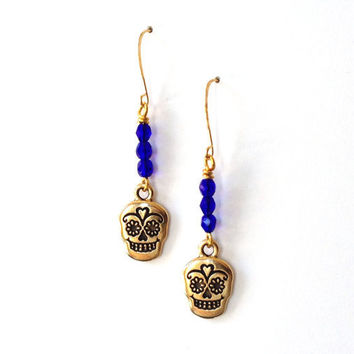 Blue Gold Sugar Skull Earrings -  Spring Jewelry