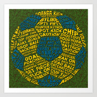 Soccer Ball Typographic Print Art Print by Brando