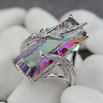 Luxurious Rainbow Mystic Topaz Fashionable Ring