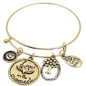 Live In The Moment Organic Charm Wire Bangle Bracelet