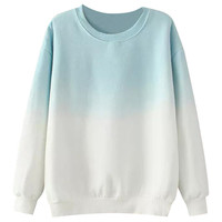 Gradient Round Neck Ribbed Knitted Sweatshirt