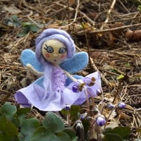 Pixie fairy art doll, liliac little person figurine with light blue wings, mixed media, needle felted.