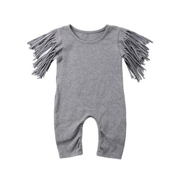 Toddler Newborn Baby Girls Tassels Summer Sleeveless Grey Cotton Rompers Jumpsuit Outfits Clothes