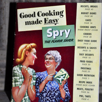 "1950s Vintage Cookbook Booklet.  ""Cooking Made Easy - Spry the Flavor Saver"" Paper Ephemera. Recipe Book 1942 Vintage Cookbook"