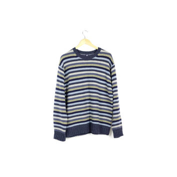 GAP lambswool striped sweater / 100% wool / crewneck / pullover / blue stripes / basic / warm winter sweaters / classic / men medium - large