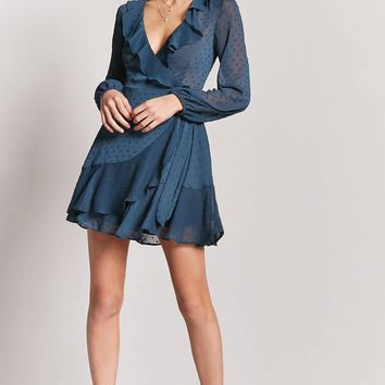 Sheer Ruffle Wrap Dress