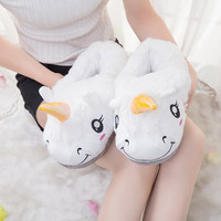 New Winter Indoor Slippers Plush Home Shoes Unicorn Slippers for Grown Ups Unisex Warm Home Slippers Shoes 4 Types 986740
