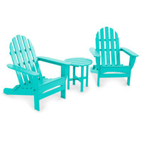 NEW POLYWOOD Classic Folding Adirondack 3-Piece Set