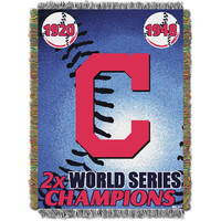 Cleveland Indians MLB World Series Commemorative Woven Tapestry Throw (48x60)