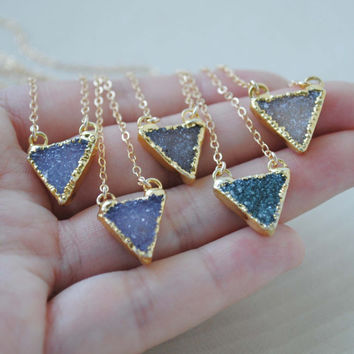 Gold Druzy Necklace, Druzy Triangle Necklace, Small Druzy Pendant Necklace, Druzy Jewelry