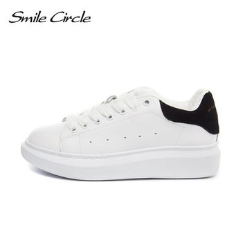 Smile Circle Big Size 35-43 Spring Autumn Genuine Leather Sneakers Women White Shoes Fashion Lace-up Platform Shoes For women