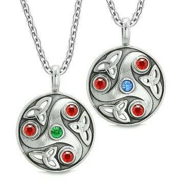 Goddess Celtic Triquetra Amulets Love Couples or Best Friends Red Blue Green Pendant Necklaces