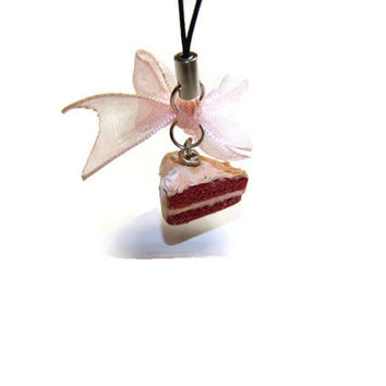 Red Velvet Cellphone Charm - Miniature Food Jewelry,Polymer clay food,Red Velvet Necklace