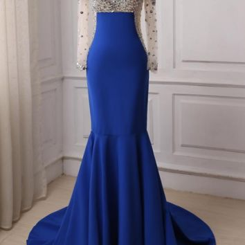 Royal Blue Evening Dresses Mermaid Long Sleeves Scoop Neck Crystals Stones Sweep Train Prom Gowns