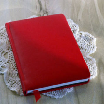 A5 handmade notebook journal Artificial leather high quality Red notebook Red cover Blank book Womens notebook Leather handbound notebook