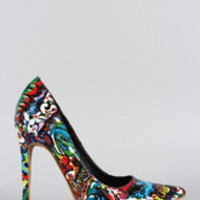 Women's Shoe Republic Graffiti Print Pointy Toe Pump