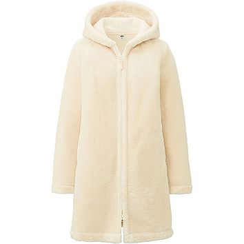 WOMEN FAUX SHEARING FLEECE LONG SLEEVE COAT