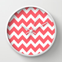 Chevron 5 Coral Wall Clock by Beautiful Homes