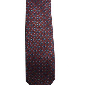 Gucci Men's Red and Blue Twill Patterned Necktie 408867