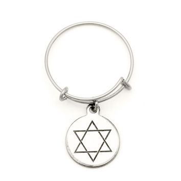 Alex and Ani Star of David Spriritual Imprint Expandable Wire Ring - Argentium Silver