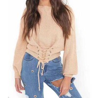 Autumn Lace Up Sweater Women Knitted Sweaters Pullovers Solid Jumper Adjust Waist Bandage Sweater