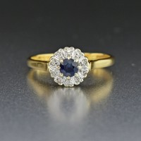 18K Gold Vintage Diamond Halo Sapphire Engagement Ring