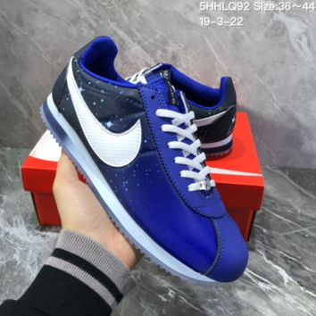 hcxx N1126 Nike Wmns Classic Cortez Nylon Prem Nightscape Star Crystal Bottom Running Shoes Blue