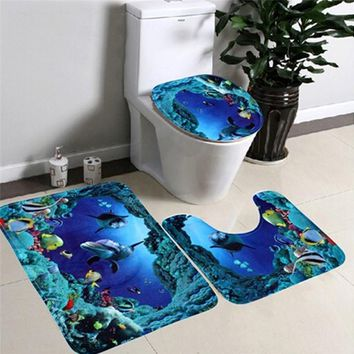 3pcs/set Bathroom Toilet Non-Slip Blue Ocean Style Pedestal Rug + Lid Toilet Cover + Bath Mat Sep16