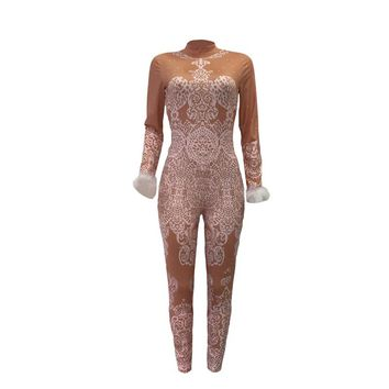 Sexy Lace Print Fake See Through Diamonds High Neck Long Sleeve Fur Cuffs Bandage Jumpsuit