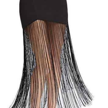 Black Sexy Fringe Skirt Women Tassel Hem Zip Back Pencil Long Skirts Vintage High Waist Elegant Skirt
