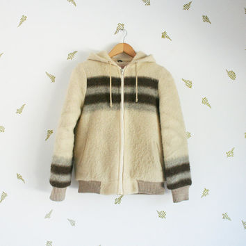vintage 70s wool jacket / hooded / bomber / faux shearling lined / natural / grey + brown striped / small / medium