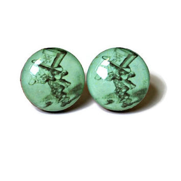 Mad Hatter Studs - alice in wonderland post earrings resin vintage retro art hipster artsy books bright green drawing FREE shipping to USA