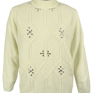 Alfred Dunner Women's Embellished Chenille Sweater