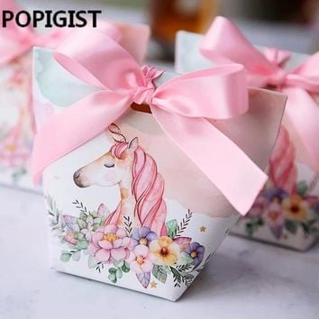 Creative European Cartoon Unicorn/ Flamingos Candy Boxes Wedding Favors Bomboniera Party Gift Box paper package Candy Bag 30