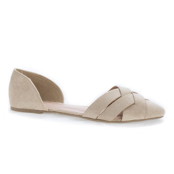 Pippa163 Natural By Wild Diva, Woven Pointy Toe Slip On D'Orsay Flats