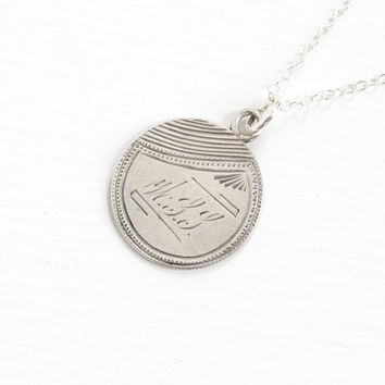 "Antique Silver Monogrammed ""MLL"" Love Token Coin Pendant Necklace - Victorian 1877 Seated Liberty Dime Coin Charm Vintage Initial Jewelry"