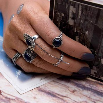 TOMTOSH 5 Pcs/set Vintage Ring Sets Antique Alloy Nature Blue Stone Midi finger Rings for Women Steampunk Turkish Ring Jewelry