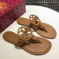 Tory Burch Fashion New Solid Color Leopard Print Sandals Leisure Slippers Shoes Women Brown