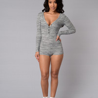 Up all Night Romper - Grey