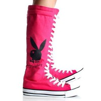 Playboy Bunny Lace up Knee High Boots Hot Pink Canvas Womens Sneakers