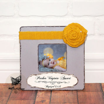 Christening Gift Baptism Gift Godmother Gift Godparents Personalized Picture Frame Custom Baby Godson Goddaughter Baby Personalized frame