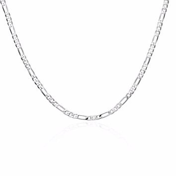 Free Shipping Classic Silver Chain Men's 4mm Thickness Three Simple Giorgio Silver Necklace DIY Accessories