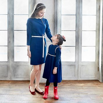 (Mommy & Me) Tip the Scallops Navy Blue Dress