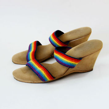 15% off CouponCode Fifteen vintage 1970s colorful BANDAGE platform wedge heels