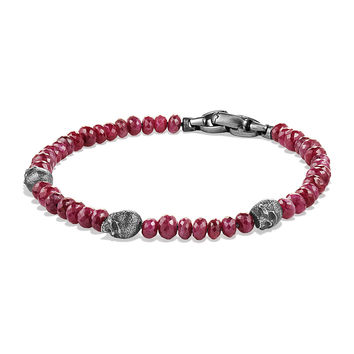 Men's Ruby Beaded Skull Station Bracelet - David Yurman