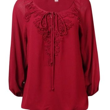Studio M Women's Draped Lace-Up Soutache Blouson Chiffon Blouse